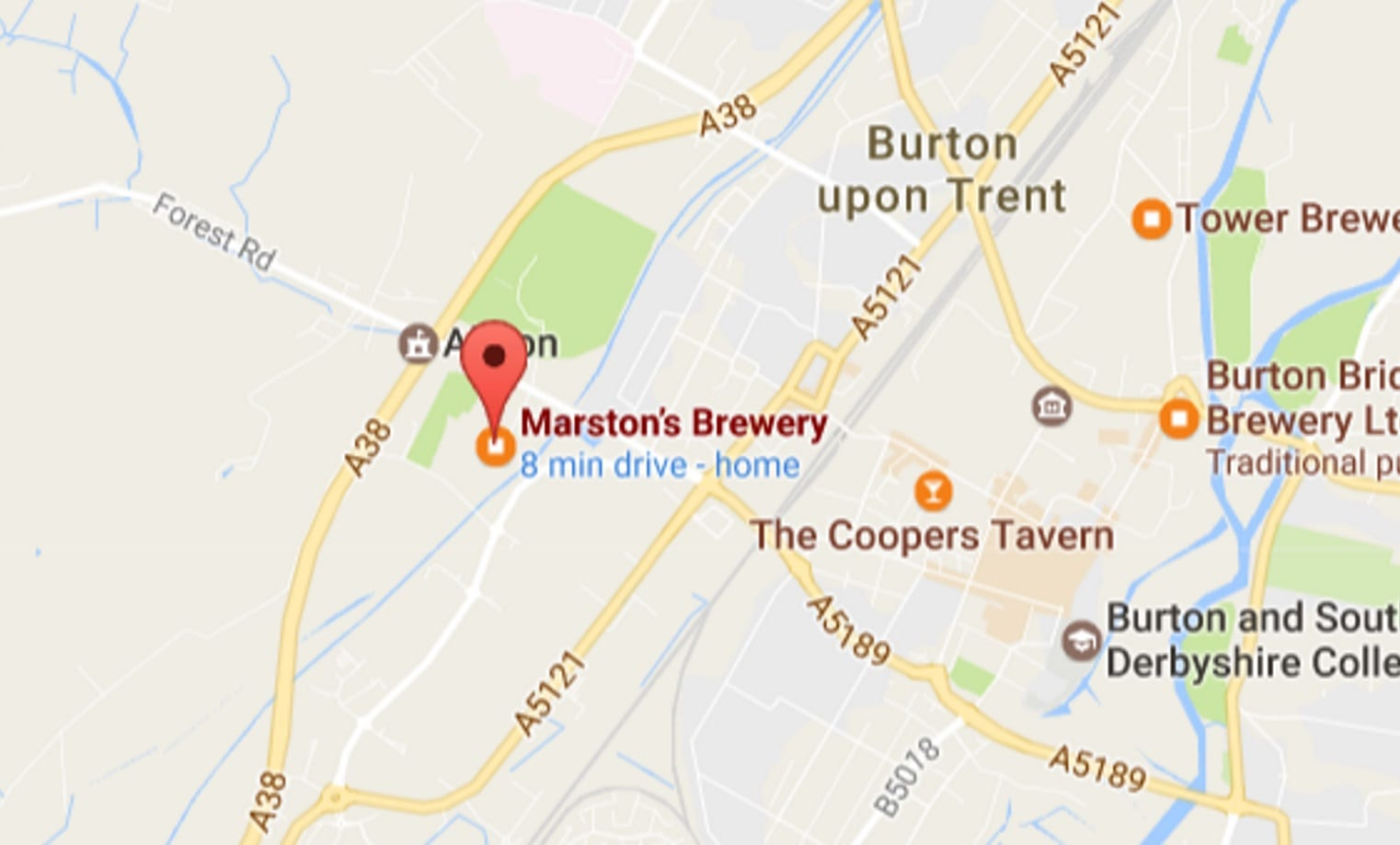 Map showing location for the MeetUp at Marstons networking event in Burton on Trent