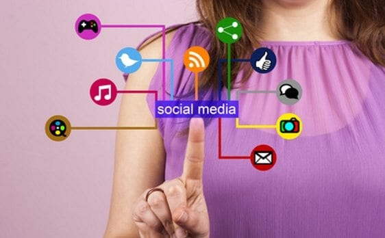 Lady pressing social media marketing buttons - our services for Pinterest